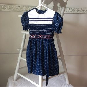 Polly Flinders Smocked Navy Polka Dot Dress